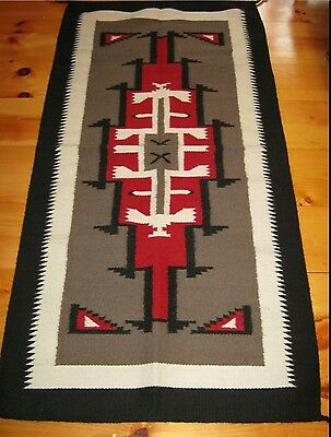 Navajo Design, Southwestern Rug or Wall Hanging 32 x 64 Black and Red
