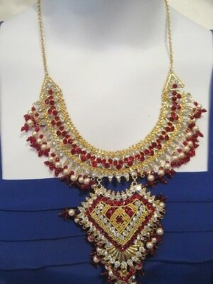 Heavy, Thickly Beaded Necklace With Red & Clear Diamante Stones Set In Goldtone