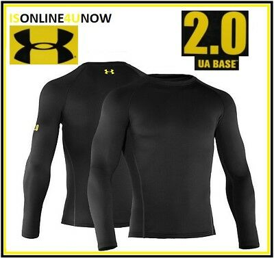 Under Armour Men's Base 2.0 Crew Long Sleeve Base Layer 1239724 001 SIZE 2XL BLK