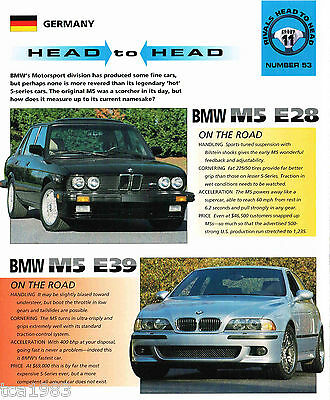 BMW M5 E28 vs. M5 E39 Road Test Brochure/Article: M-5