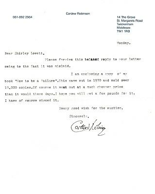 Cardew Robinson -  typed letter signed. English comedian from the 1950's