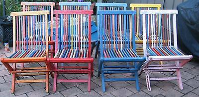 8   x    Antique/Vintage Fold Up  Deck Chairs
