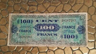 France, 100 Francs Verso France, 1944, KM:118a, Allied Occupation Currency