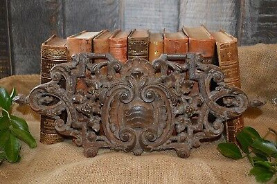 Antique French Cast Iron Architectural Pediment Wall Plaque Medallion