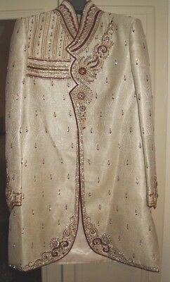 Mens Ivory, silver & red Asian Indian Pakistani, Wedding Sherwani Jacket - 38