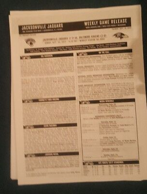 Nfl At Wembley 2017 Jacksonville Jaguars Weekly Game Release Sheets