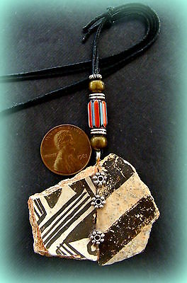 Authentic Old ANASAZI POTTERY SHARD PENDANT NECKLACE Jewelry - Chevron Bead