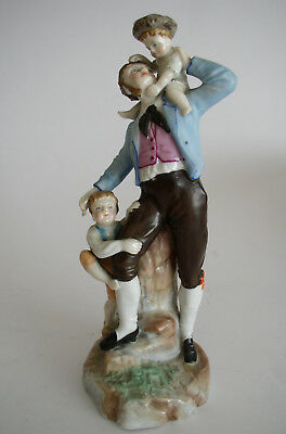 Charming Antique Sitzendorf Figure / Spill Vase Father With 2 Children 1884-1902