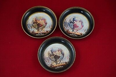 1964-65 New York World's Fair Unisphere Metal Coasters (Set of 3) as Pictured