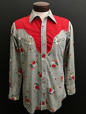 "Vintage ""h Bar C"" Mens Western Shirt Size M, Long Tail Made In Usa"