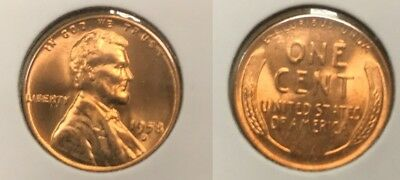 1958-D Lincoln Wheat Cent Nice MS/BU RED Lincoln Coin
