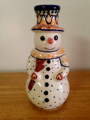 Unikat Polish Hand Crafted Snowman Candle Holder
