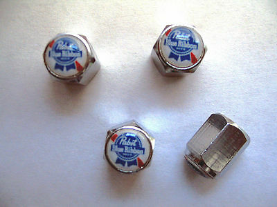 Pabst Beer Tire Valve Stem Caps, Pabst Blue Ribbon Beer Logo Tire Caps, Pabst