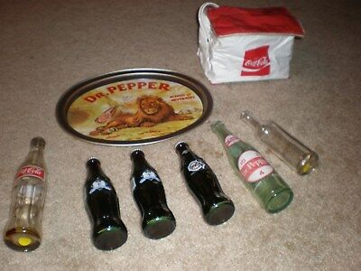 Grab bag of 8 Coca Cola, Dr. Pepper, Moxie Items, French Coke Bottle