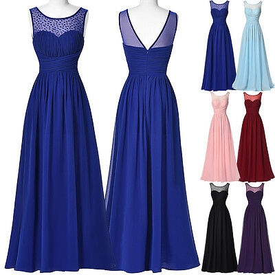 Hot Long Chiffon Evening Dresses Party Cocktail Pageant Bridesmaid Wedding Dress