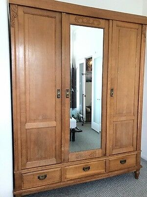 Large Oak Antique 3 Door Wardrobe Armoire with drawers from Luxembourg 1900
