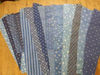 Antique Indigo & Cadet Blue Fabric Scraps 15 Different Calico Prints Lot