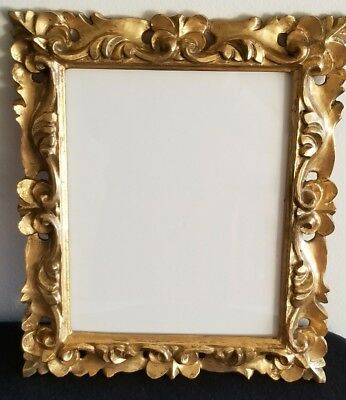 Antique Vintage Italian Rococo Gold Gilt Wood Picture /Painting Frame with Glass