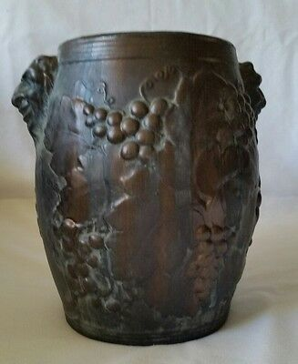 Porcelain Vase with Raised Vine design, OIL HAND-PAINTED