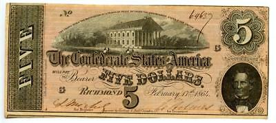 1864   $5   Confederate Currency