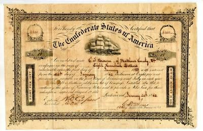 1862 Confederate Bond $800