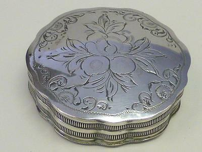 19thc Snuff PEPERMINT Box Netherlands Dutch 833 Silver Holland Scalloped FLORAL