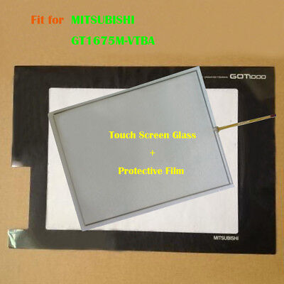 for MITSUBISHI GT1675M-VTBA,GT1675MVTBA Touch Screen Glass + Protective Film New