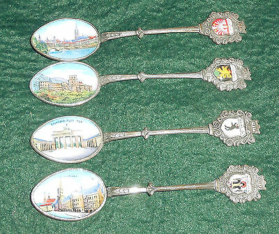 Lot of 4 Silverplate Souvenir Spoons with Enamel Scenes NR