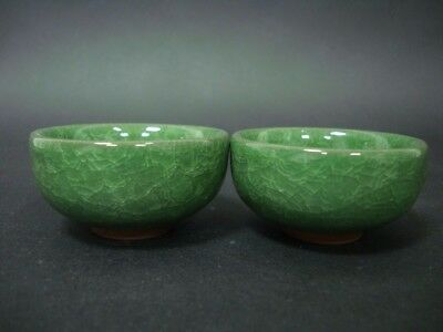A Paif of Rare Chinese Green Glaze Porcelain Cups TeaBowls QA456