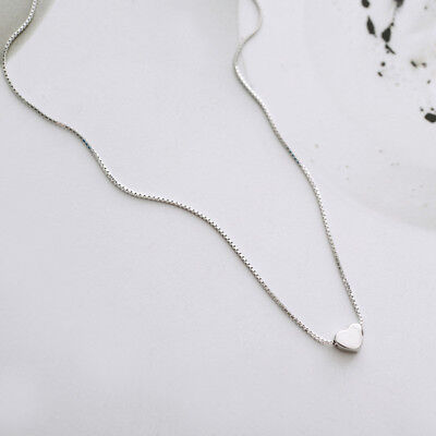 Genuine S925 Sterling Silver Love Heart Cute Chain Pendant Necklace Choker Gifts