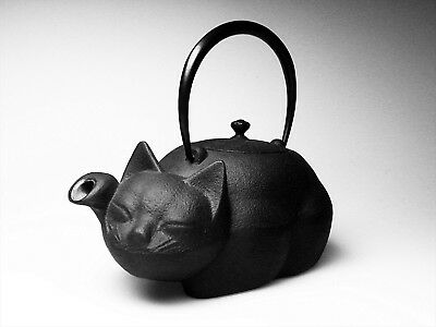 Japanese Cast Iron Teapot Kettle Nambu Nanbu Tekki Tetsubin Kyusu Cat Kitty NEW