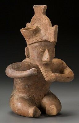 Precolumbian Colima Sitting Hunchback Incised Flute Player Figure 12""