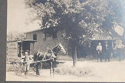 1900 era Cabinet Card Photo of a Country Grocery Store & Delivery Wagon w/ Horse