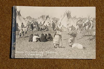 1920s era RPPC Real Photo Postcard INDIAN VILLAGE at the 101 RANCH by Doubleday!