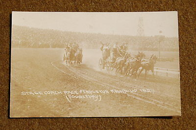 1924 RPPC Stagecoach Race PENDLETON ROUND-UP Real Photo Postcard Great Scene!!!!