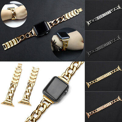 Black Stainless Steel Wrist Bracelet Clasp iWatch Band for Apple Watch 38mm/42mm