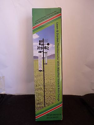 Lawn & Garden Thermometer With Weather Vane And Rain Gauge