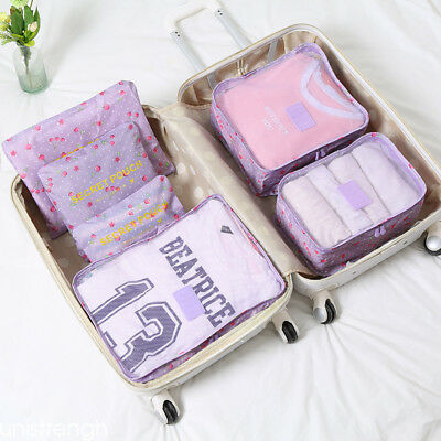 UNI 6pcs Travel Bags Waterproof Storage Luggage Organizer Pouch Packing Cubes