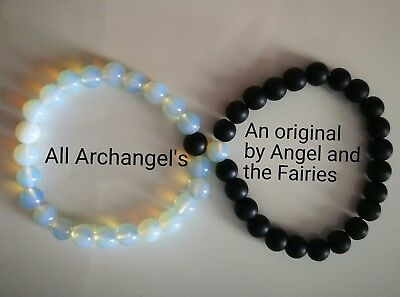 Code 687 Lovers set of Opalite n Agate Archangel's Infused bracelet Romance