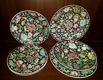vintage china Zhongguo dinner set for 2. RARE plates & bowls 6 piece vibrant set