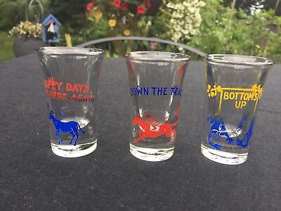3 Vintage BARWARE Shot Glasses 2 7/8""
