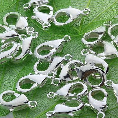Wholesale 100Pcs Silver Plated Lobster Claw Clasps Hooks Jewelry Findings 10mm