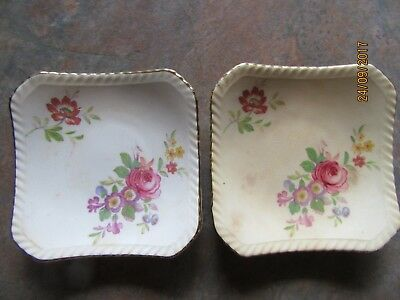 Two Royal Adderley floral gilt edge bone china pin dishes