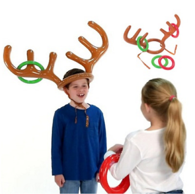 Christmas Party Inflatable Reindeer Antler Ring Toss Fun Game Favours Decoration