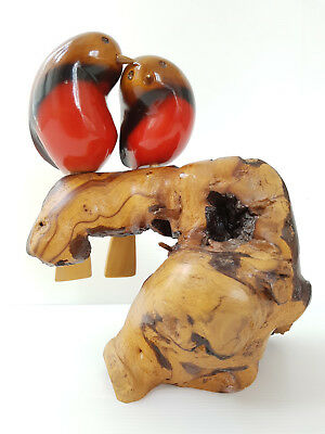 Couple Of'birds On Cep Of Vine 1970 Vintage Sign 70S Wood 70's 70S