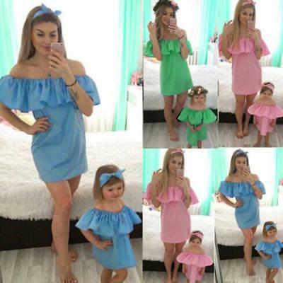 Lovely Mommy and Me Baby Girl Off Shoulder Summer Princess Dress Outfits Set NEW