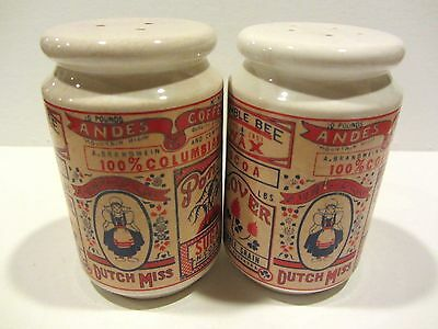 Unique & Beautiful Ceramic Range Top S&p Shakers - Featuring  Old Time Ads