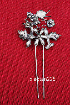 China's Ancient costume Handmade Miao Silver filigree Hairpin Headdress W559