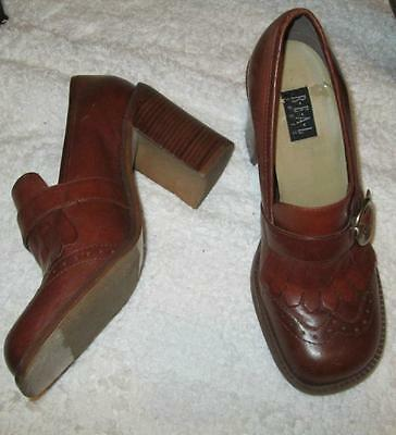 ViNTAGE 90's real LEATHER Saddle Oxford Chunky Heels buckle Fringed Shoes 7.5