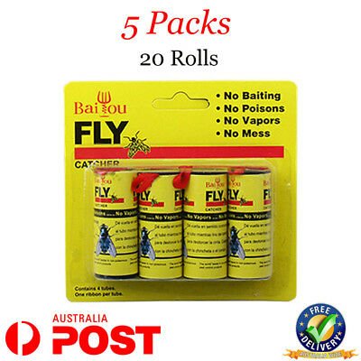 20 Rolls 5 Packs sticky fly trap glue insect bug catcher paper ribbon tape strip